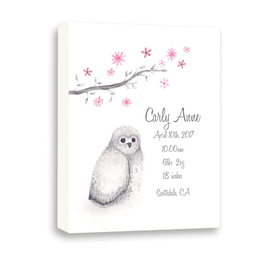 Personalized Baby Girl Birth Stat In Rose, Wrapped Canvas Watercolor Owl, Gift Idea From Godparents, O1001C