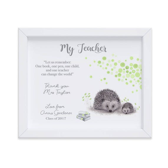 Customized  Watercolor Woodland Animal Print Gift for Teacher at Semester End, Ideal Christmas Gift