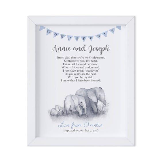 Personalized Baptism Gift for Godparents, Elephant Family Art Print from Godchild, Godparent Baptism Gift, Thank You Gift for Godparents