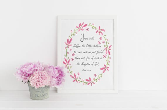 Child's Scripture Verse, Biblical wall art, Baptism Gift, Choose your own Bible Verse
