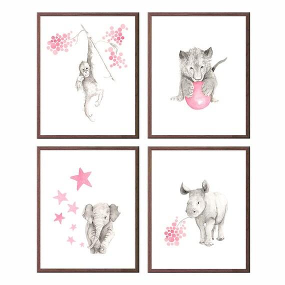 Animal nursery Art, Set of 4 prints, Elephant art, Safari art, Jungle theme, Rose and Gray