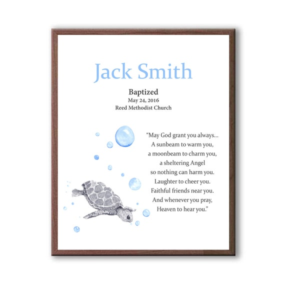 Baby Boy Baptism Art Gift, Godchild Gift, Turtle Baptism Art, Christening Gift, Christening Art