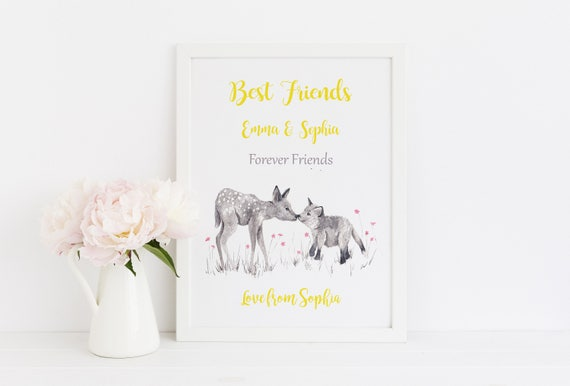 Personalized Animal Watercolor Print for Best friend, Birthday Gift for Bestie, Friendship Christmas Gift
