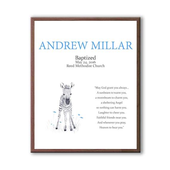 Gift For Godchild Boy, Baby Zebra, Art For Christening, Baptism Art Gift