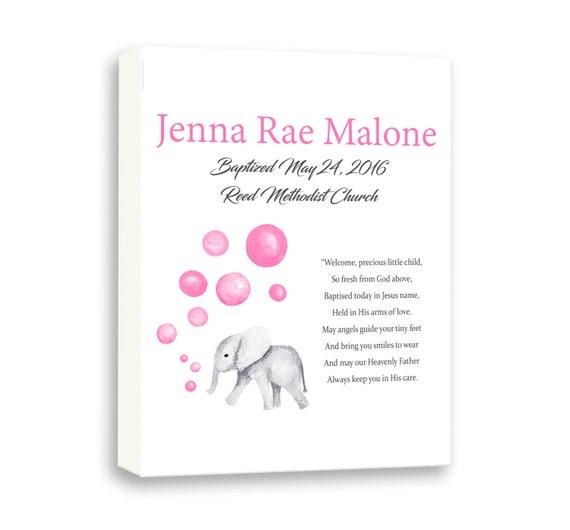 Baby Elephant Gift From Godparents For Dedication Naming Day, Christening Art Gift For Godchild