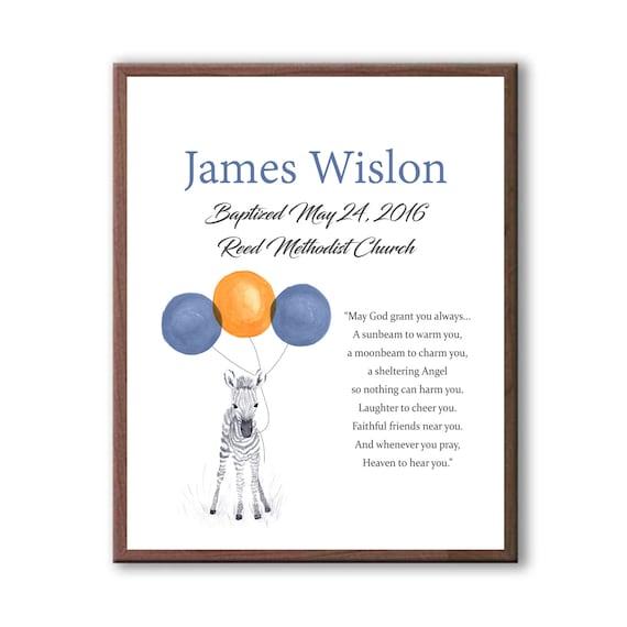 Baptism Gift For Godson, Dedication Art For Baby, Baby Zebra, Navy Blue Art From Godparents