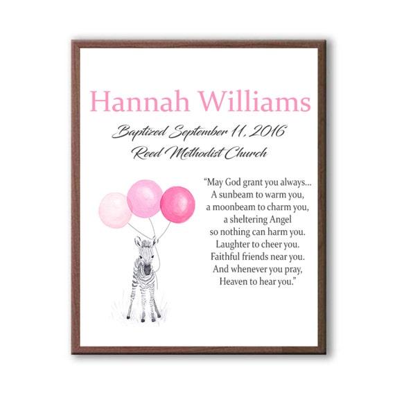Baby Girl Personalized Baptism Animal Gift, Custom Christening Gift For Kids, Goddaughter Dedication Day, Baptism Gift