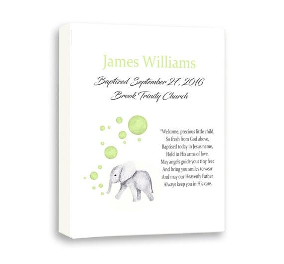 Cute Baby Elephant Personalized Baptism Gift Or Keepsake