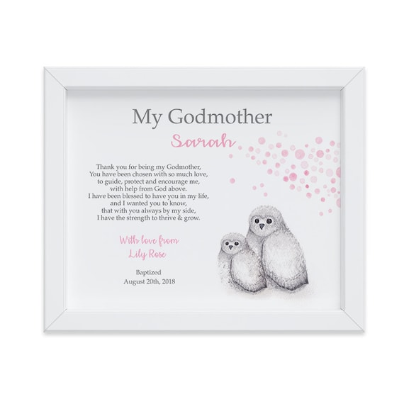 Personalized Godmother Gift from Goddaughter, Owl Art Print for Godparents, Godmother Baptism Gift