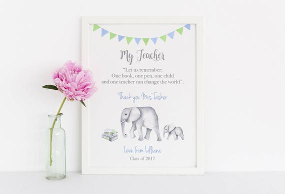 Personalized School Teacher Christmas Gift, Elephant Art Print For End Of Term Gift, Semester Gift, Thank you Gift