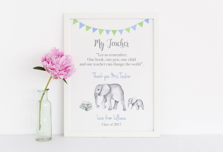 Personalized School Teacher Christmas Gift, Elephant Art Print For ...
