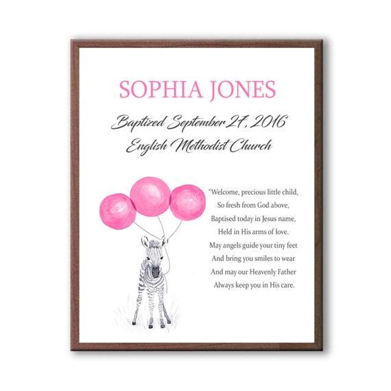 Baby Girl Christening Art Gift - Gift For Godparents - Goddaughter Naming Day Gift, Naming Day Ceremony