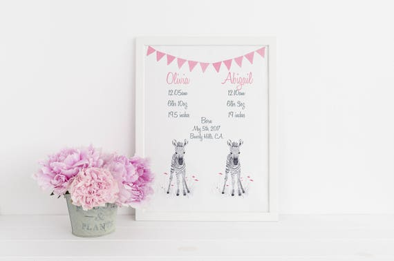 Personalized Birth Stat for Twins in Pink and Gray, Birth Announcement for Newborn Twins, Baby Shower Gift