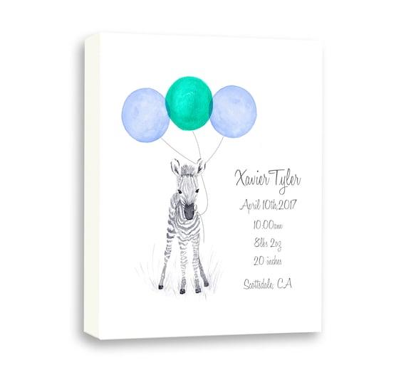 Cute Zebra Gift, Baby Birth Stats, Watercolor Zebra Art, Safari Animal Art, Gift for Grandson, Z1002C