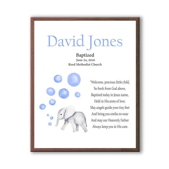 Girls Baptism Art, Baby Elephant, Baby Blue, Boys Baptism Art Gift, Christening Art Gift