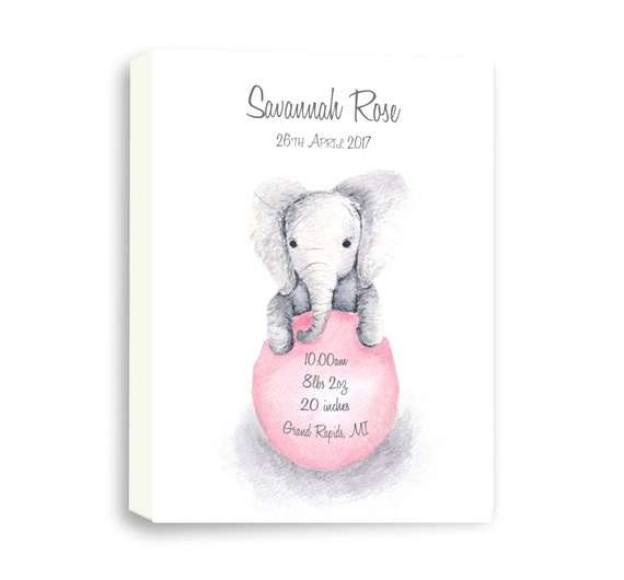 Canvas Birth Stat for Baby Girl Gift Idea, Any Size, Any Color, Personalize Your Baby Gift, EB1006C