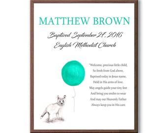 Dedication Day Art Gift, Baptism Poem, Baptism Wall Art Decor, Christening Gift