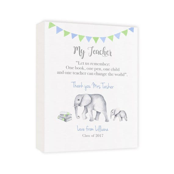 Gift for Teachers Desk at Christmas, Personalized Elephant Canvas Decor for Classroom, Gift for Semester
