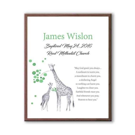 Baptism Gift For Godson, Art From Godchild, Art For Baby Boy, Baby Boy, Giraffe Art