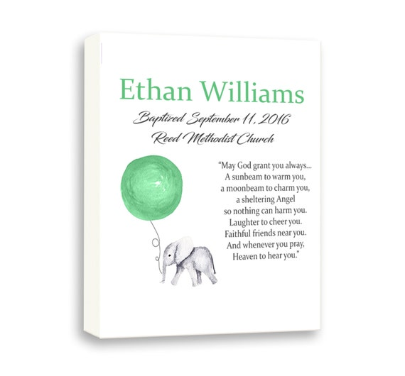Personalized Christening Baptism Day Gift, Baby Elephant, Baby Dedication Gift, Newborn Gift From Godparents