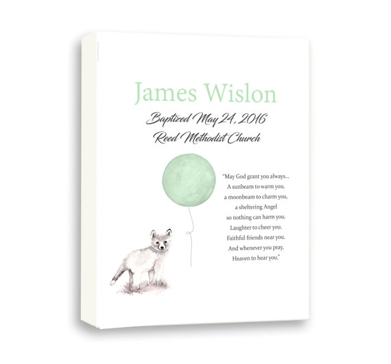 Christening Day Boy, Animal Art For Baby Baptism Day, Naming Day, Naming Art, Fox Balloon Green Art