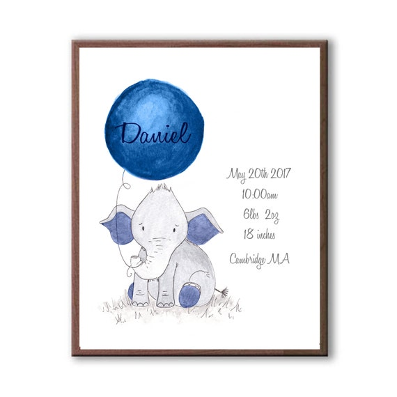 Watercolor Baby Elephant Gift For Baby Boy In Navy, Custom Birth Stat Art Print Gift, EBE1003