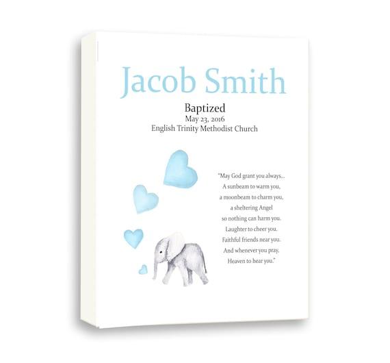 Custom Baptism Gift For Godson - Christening Art Gift - Baby Elephant Baby Blue Godchild Baptism