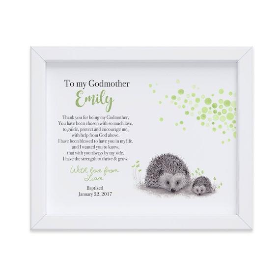 Personalized Gift for Godmother from Godchild on Baptism day, Art Print Gift from Godchild, Godmother Baptism Keepsake