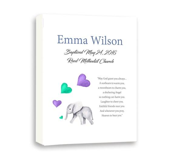Baby Elephant Art For Baby Dedication Day, Art For Goddaughter, Baby Girl Baptism, Poem Art