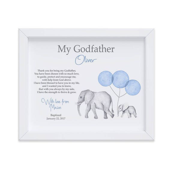 Gift Ideas for Godparents, Baptism Personalized Print from Godchild, Keepsake Gift for Godfather