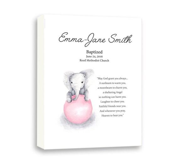Art For Goddaughter, Art For Baby Baptism, Baby Girl Art, Baby Elephant Gift Art, Dedication Day