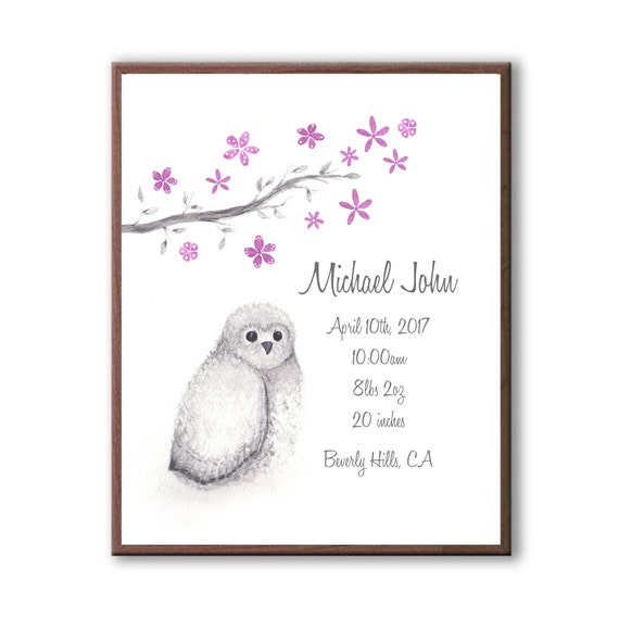 Watercolor Baby Owl Custom Birth Stat, Personalized Newborn Birth Stat Gift, Gift From Godparents, O1002
