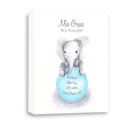 Personalized Gallery Wrapped Canvas Baby Girl Birth Stat, Watercolor Baby Elephant Gift, EB1003C