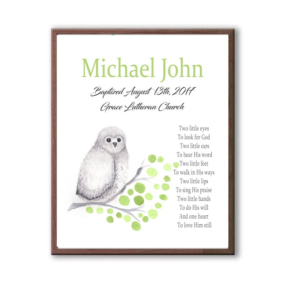 Baptism Gift, Watercolor Owl Gift, Gift From Grandparents, Cute Owl TE110