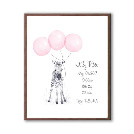 Baby Zebra Birth Stat, Baby Pink Watercolor Zebra, Personalized Zebra Print, Baby Gift Z1003