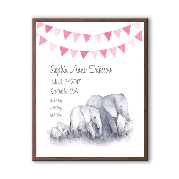 Baby birth stats, Baby Birth Announcement Gift, New Baby Girl Gift For Baby Shower, Elephant Family Print, Pinks, E1002