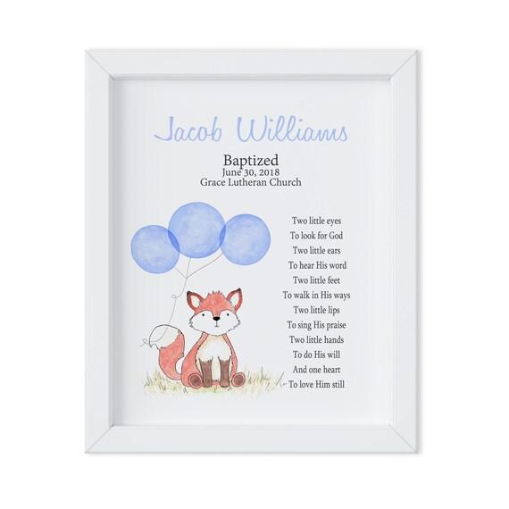 Baby Boy Baptism Art Gift, Godchild Gift, Fox Baptism Art, Christening Gift, Christening Art