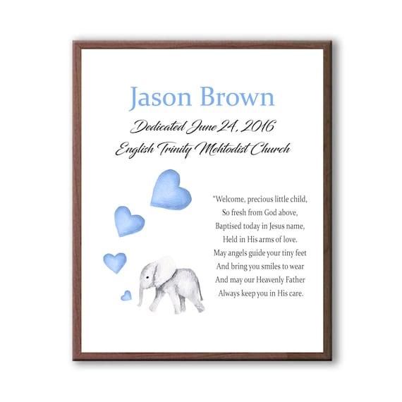 Baby Dedication Gift, Godchild Naming Day Gift, Baby Elephant, Baby Blue Baptism Gift
