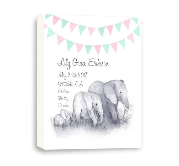 Gallery Wrapped Canvas Birth Announcement For Newborn, Baby Girl, Watercolor Art, E1004C