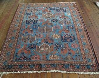"Vintage Persian Afshar Rug 4'0""x4'6"" - Hunttrugs"
