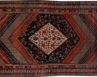 "Antique Persian Shiraz Rug 5'4"" x 10'1"" - Hunttrugs"