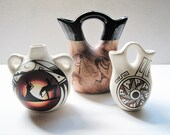 Vintage Pueblo Native American Lot of 3 Bowl Indian Wedding Vase Pot Jug Double Spout Signed Hand Painted Pottery Dineh Binishtaa Blkhorse