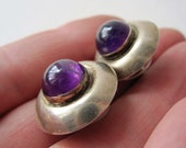 Round Domed Sterling Purple Stone Post Earrings Silver Button Earring Amethyst Color Cabochon Bezel Set