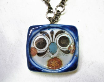 Owl or Fox Bead Pendant with Suede Adjustable Cord