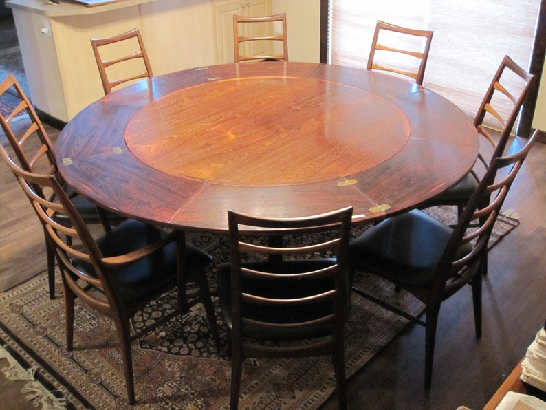 1960s Rosewood Dining Set 8 Koefoed Hornslet Lis Chairs Danish Modern Round  Table Flip Flap Leaves Dylund Denmark Mid Century Matched RARE!