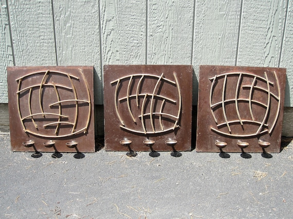 Cool 3 Iron Mexican Wall Panels 16X16 Metal Brutalist Candle Holder Wall Art Sculpture Mid Century Modern Decor Copper Bronze Zen Garden Decor Camellatalisay Diy Chair Ideas Camellatalisaycom