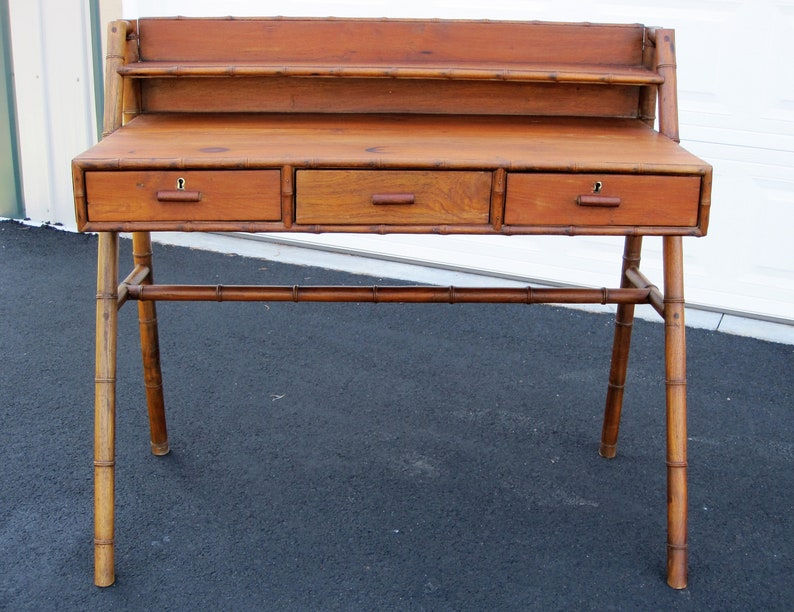 1900s Teak Writing Desk Bamboo Trim Turned Leg Detail Compass Leg 3 Drawers Shelf English Victorian Oriental Period Japan Secretary Table