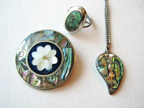 Vintage Alpaca Mexico sterling silver brooch Alpaca Mexico pendant abalone inlay sterling silver brooch abalone inlay silver pendant