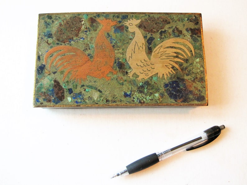 Los Castillo Brass Lapis Roosters Box Inlaid Stone Mid Century Modern Mosaic Hinged Lid Taxco Mexico Metal Art Rosewood Lined Jewelry Case