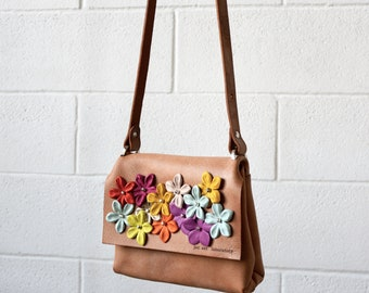 leather cross body flower bag